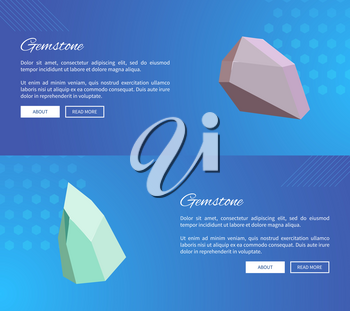 Gemstone landing pages design with push buttons about and read more, webpages with precious stones minerals and crystals vector web posters set