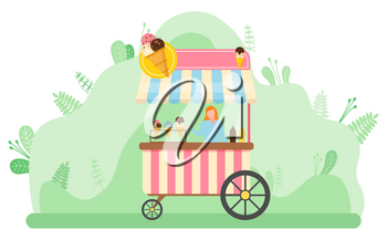 Seller standing by kiosk with ice cream vector, character selling desserts frozen snacks. Outdoors market in park. Tent with gelato production flat style. Flat cartoon