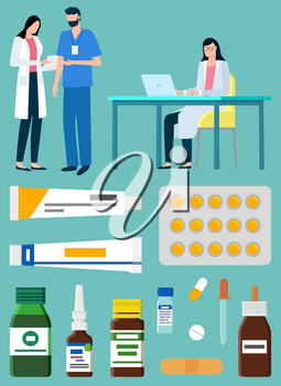Doctors at work vector, isolated set of medicaments and medicine helping to get well. Laboratory scientists with ointment and pills blister, drops