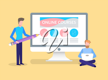 Online courses, training of student by male tutor vector. People learning in distance, distant education obtaining of knowledge. Computer with website
