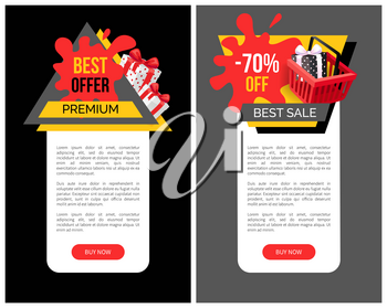 Sale 70 percent off web page sample with shopping cart, gift boxes and price tag blots. Total discounts on goods, poster with text, vector special offer