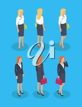 Woman wearing formal wear skirt and blouse set builder. Businesslady talking on smartphone. Manager carrying doments and files in briefcase vector
