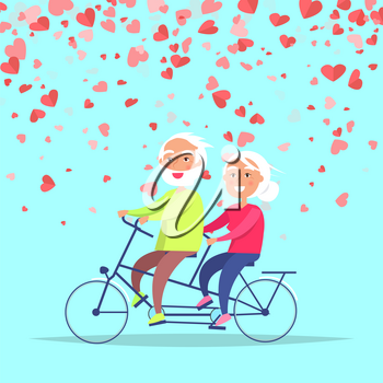 Smiling elderly people riding on bicycle vector. Valentine card cartoon character decorated by red hearts and cycling old man and woman, active romantic day