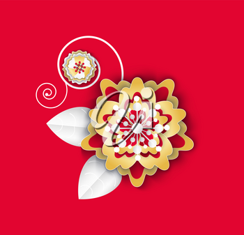 Flower with leaves and petals flora plant isolated icon vector. Asian paper culture floral decoration, decor on Chinese New Year celebration origami