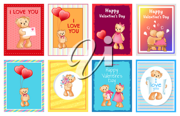 Valentines day postcards with I love you signs and adorable teddy bears with balloons in shape of heart isolated cartoon vector illustrations set.