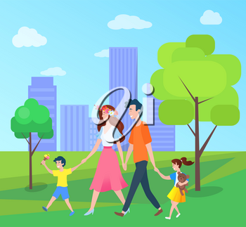 Family mother father son and daughter walking in urban city park with trees and buildings. Vector mom and dad, boy and girl spend time together outdoors