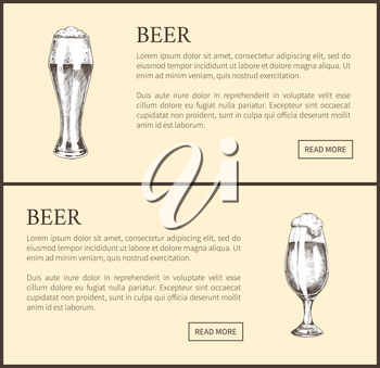 Beer objects set hand drawn vector sketches. Full tumblers with flowing foam isolated on beige vintage icons illustrations for bar menu template.