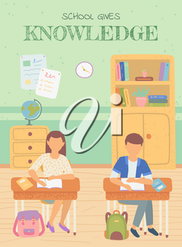 Studying schoolboy and schoolgirl in classroom vector, boy and girl writing in textbooks. Geography lesson, globe on shelf and books, tables with info. Back to school concept. Flat cartoon