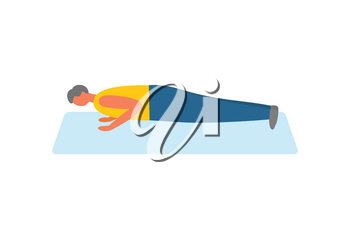 Sport and exercise, man doing push-ups on rug vector. Pumping biceps, healthy lifestyle and daily workout, morning training isolated male character