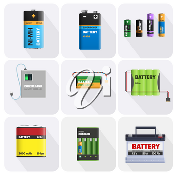 Colorful charging devices in square cells isolated in square cells. Electric appliances to recharge energy for longer usage vector illustration. Power containers to restore devices in flat design
