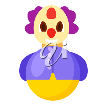 Roly-poly funny clown with violet hair, red nose purple jacket and round body isolated vector illustration on white background.