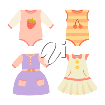 Baby clothes collection, poster with dresses and pockets, stretchie and jumpers with berries, baby clothes vector illustration, isolated on white