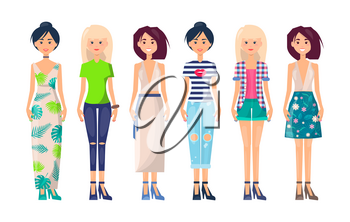 Stylish girls set in summer vogue collection of clothing, exclusive sarafan, jeans and t-shirts, pants skirts, slim cartoon women in morden apparel vector