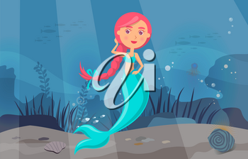 Sea adventure with marine wild nature, mermaid and fishes. Underwater life of sea creatures. Girl with fish tail and long hair smiles and swims in blue water. Cartoon nautical character lives in ocean