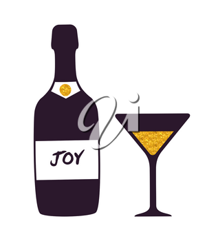Joy bottle and glass icon isolated on white background. Vector illustration with alcoholic beverage glasswear with label and martini drink