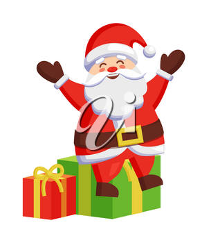 Santa Claus sitting on colorful gift boxes icon isolated on white background. Vector illustration with happy Father Frost and presents decorated by bows