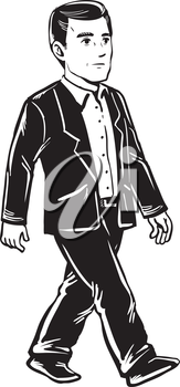 Confident handsome businessman walking in a suit, side view black and white hand-drawn doodle illustration