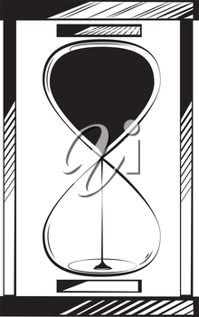Full hourglass or egg timer with sand running through measuring passing time, black and white hand-drawn doodle illustration