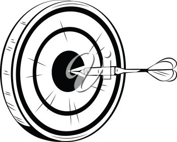 Accurately thrown dart on target for a bulls eye aiming straight for the centre of the dart board or target, black and white hand-drawn vector illustration