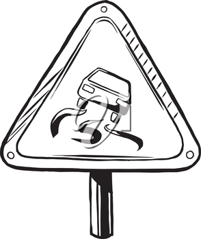 Slippery when wet road traffic caution sign showing a car with skid marks loosing traction on the wet surface, hand-drawn black and white vector illustration