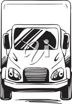 Front view of a service or delivery van for commercial transportation, black and white vector illustration