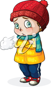 Illustration of a Caucasian baby feeling cold on a white background