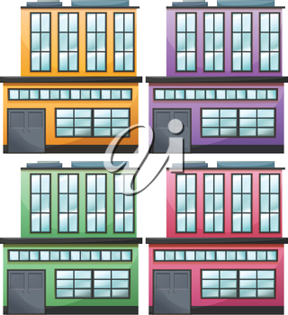 Illustration of the different house designs on a white background