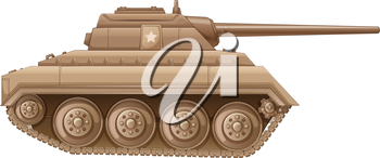 Illustration of a brown military tank on a white background