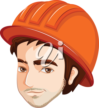 Illustration of a head of an engineer on a white background