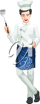 Illustration of a male chef on a white background