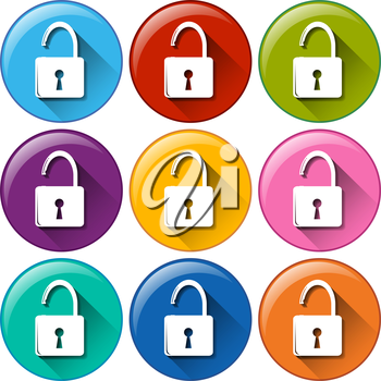 Colourful round lock buttons on a white background