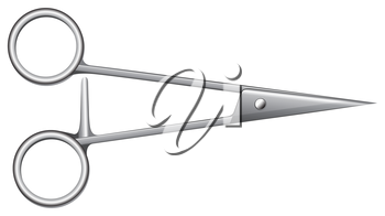 Illustration showing a pair of first-aid scissors on a white background