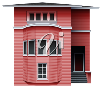 A pink building on a white background