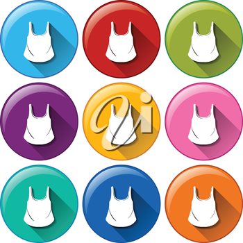 Circle buttons with sleeveless shirts on a white background