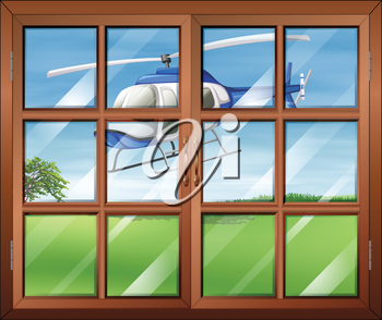 Illustration of a closed window with a helicopter outside