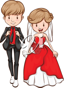 A colourful drawing of a newly wed on a white background