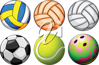 Illustration of a set of sport balls on a white background