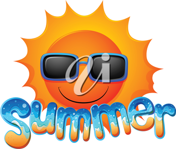 Illustration of a summer sunglasses on a white background