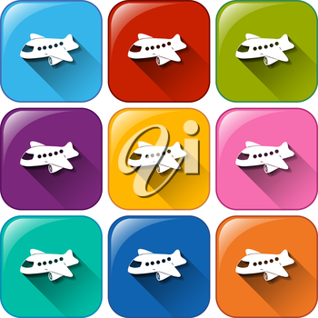 Buttons with planes on a white background