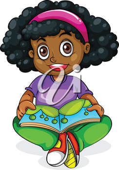 Illustration of a Black young girl reading on a white background