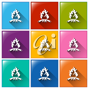 Illustration of the campfire icons on a white background
