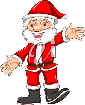 Illustration of a simple sketch of a happy Santa Claus on a white background