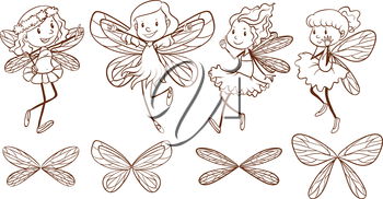 Illustration of the sketch of simple fairies on a white background