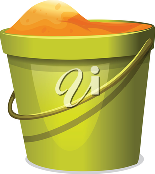 Illustration of a pail with sand on a white background