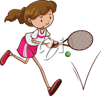 Illustration of a female tennis player on a white background