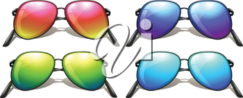 Illustration of the coloured sunglasses on a white background