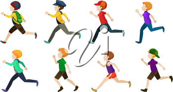 Illustration of faceless kids running