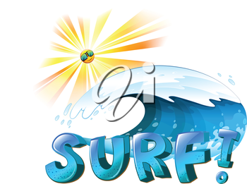 Illustration of the surfing artwork on a white background