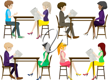 Faceless people discussing at the table on a white background