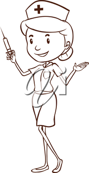 Illustration of a simple drawing of a female doctor on a white background